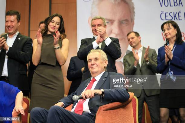 ProRussian incumbent Milos Zeman is applauded as he celebrates his victory with his staff members after he was reelected Czech President on January...
