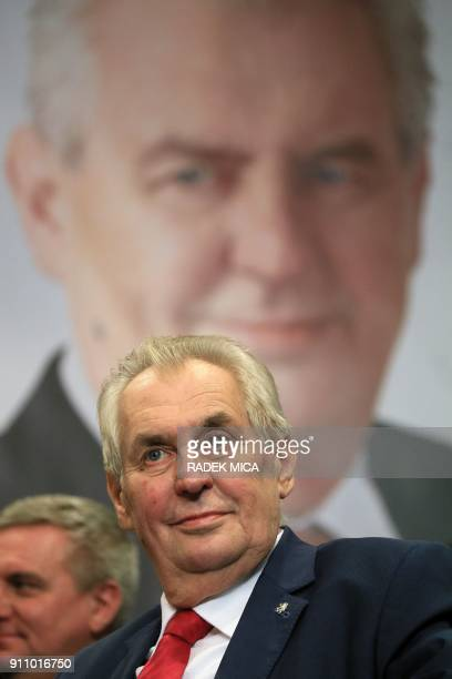 ProRussian incumbent Milos Zeman looks on as he celebrates his victory with his staff members after he was reelected Czech President on January 27...