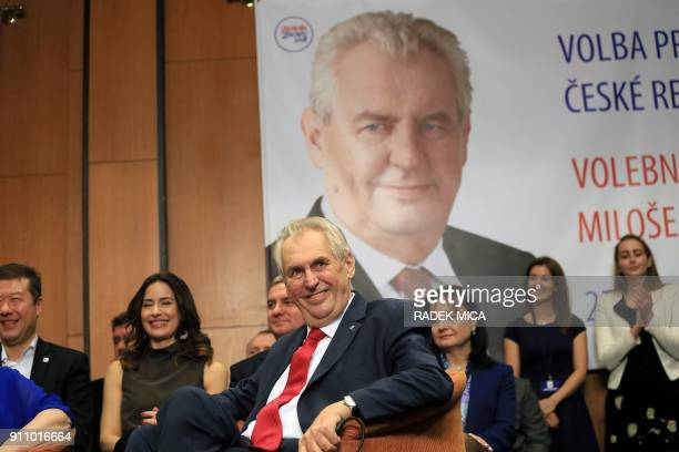 ProRussian incumbent Milos Zeman smiles as he celebrates his victory with his staff members after he was reelected Czech President on January 27 2018...