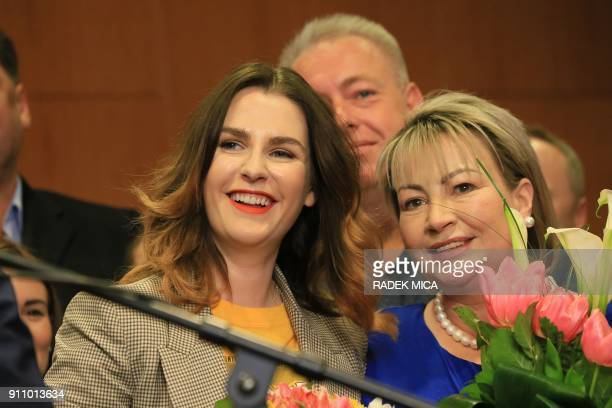 ProRussian president Milos Zeman's wife Ivana and daughter Katerina attend a meeting with staff members to celebrate after Zeman was reelected Czech...