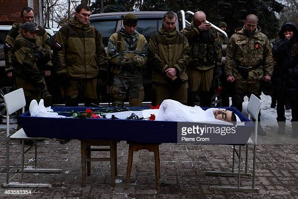 ProRussian rebels attend the funerals of four rebel fighters on February 16 2015 in Donetsk Ukraine The rebels died on the frontline in Lohvynove...