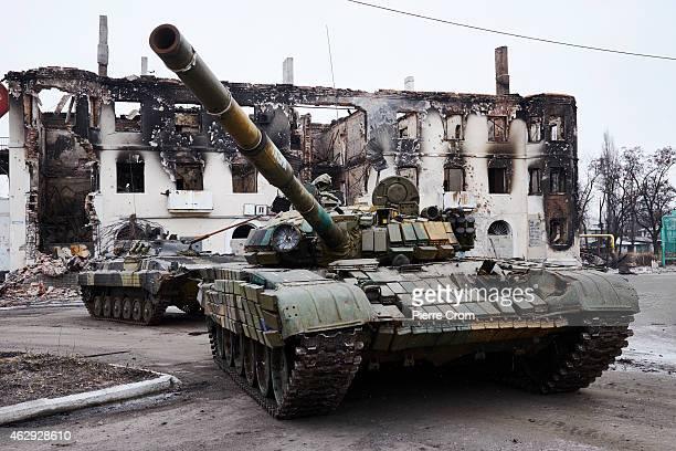 Pro-Russian rebels seize Ukrainian armoured vehicles on February 7, 2015 in Uglegorsk, Ukraine. According to Pro-Russian rebels, control of...