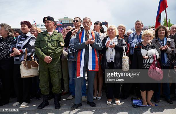ProRussian residents of the Donetsk region celebrate the first anniversary of the so called proRussia selfproclaimed state Donetsk People's Republic...