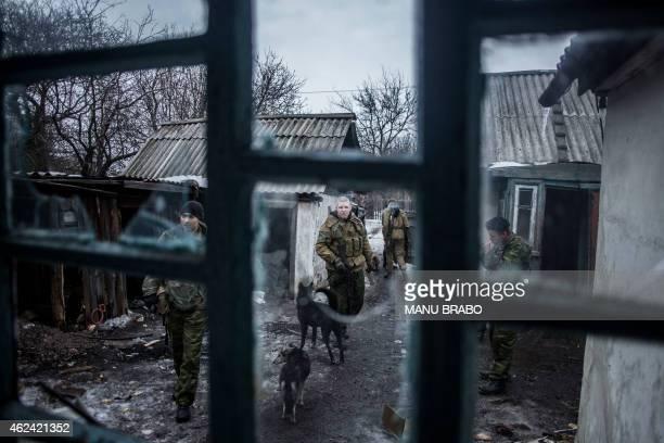 Pro-Russian separatists patrol at an advanced post near the eastern Ukrainian city of Debaltseve, in the Donetsk region, on January 28, 2015. Ukraine...