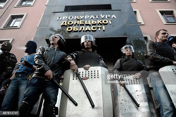 Pro-Russian separatists seize the Prosecution Office in Donetsk, Ukraine, on May 1, 2014.
