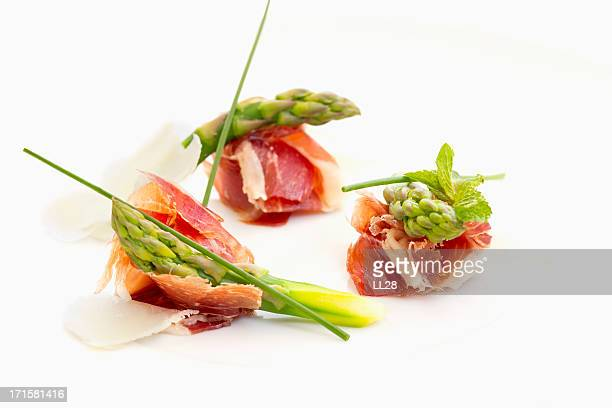 A prosciutto appetizer with dry cured ham