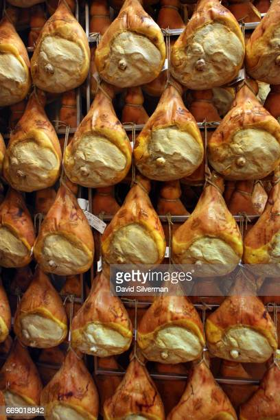 Prosciutto di Parma cured pork thighs are matured at the modern stateoftheart Ruliano prosciutto production plant 27 March 2017 in Riano di...