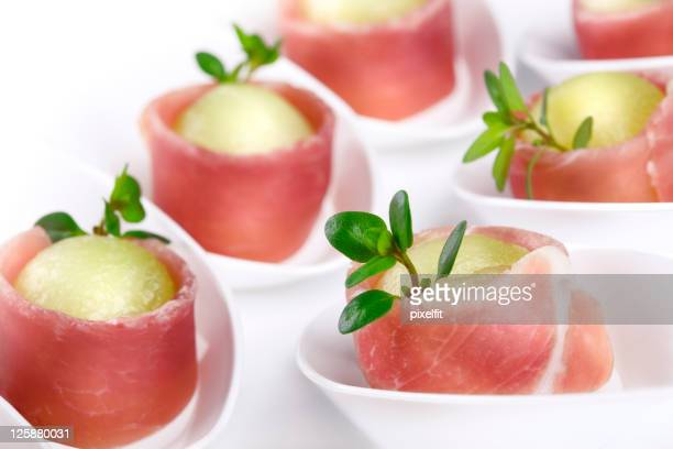 Prosciutto with melon and thyme appetizers