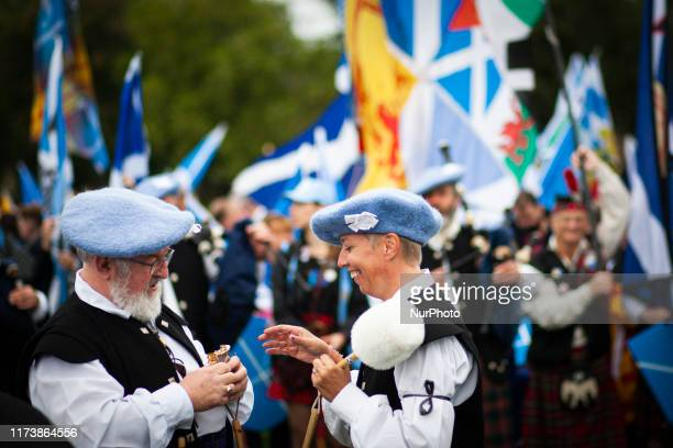 Pro-Scottish independence supporters march from Holyrood Park though the city centre to The Meadows for an all under one banner march on October 5,...