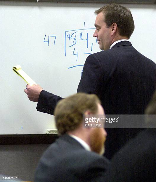 Prosecuter David Leavitt calculates the numbers 16 May 2001 in Provo Utah concerning the amount of money that avowed polygamist and fundamentalist...