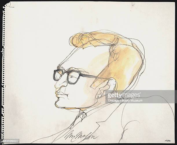 Prosecuting Attorney Richard Schultz in a courtroom illustration during the trial of the Chicago Eight Chicago Illinois late 1969 or early 1970 The...