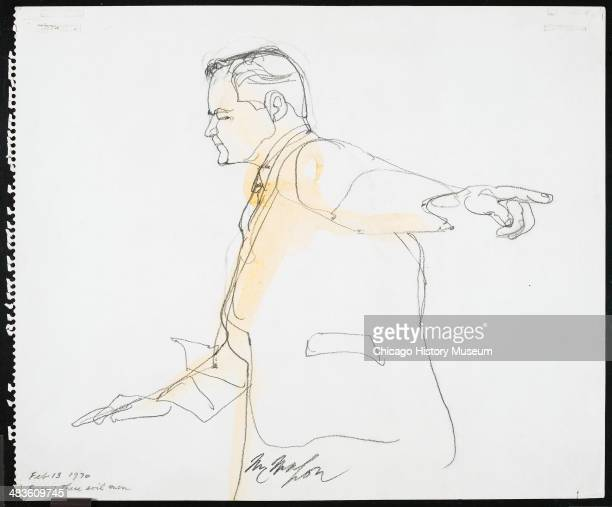Prosecuting Attorney Thomas Foran pointing in a courtroom illustration during the trial of the Chicago Eight Chicago Illinois late 1969 or early 1970...