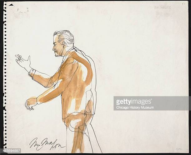 Prosecuting Attorney Thomas Foran standing in a courtroom illustration during the trial of the Chicago Eight Chicago Illinois late 1969 or early 1970...