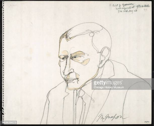 Prosecution witness Chicago Police Officer Robert Garner in a courtroom illustration during the trial of the Chicago Eight Chicago Illinois late 1969...