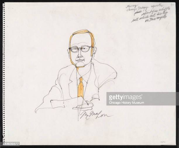 Prosecution witness Chicago Today reporter James Murray in a courtroom illustration during the trial of the Chicago Eight Chicago Illinois late 1969...