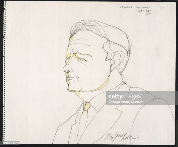 Prosecution witness FBI agent Vernon Weimar in a courtroom illustration during the trial of the Chicago Eight Chicago Illinois late 1969 or early...