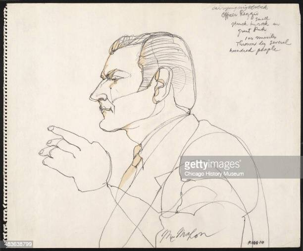 Prosecution witness Frank Riggio Chicago Police Detective testifying in a courtroom illustration during the trial of the Chicago Eight Chicago...