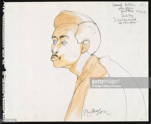 Prosecution witness Officer Desmond Butler in a courtroom illustration during the trial of the Chicago Eight Chicago Illinois late 1969 or early 1970...
