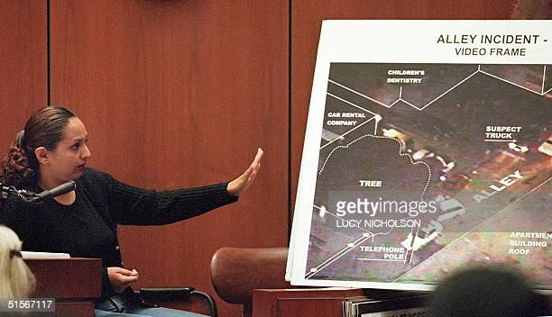 Prosecution witness Veronica Polanco testifies at the Los Angeles Police Department Rampart division corruption trial in Los Angeles 20 October 2000...