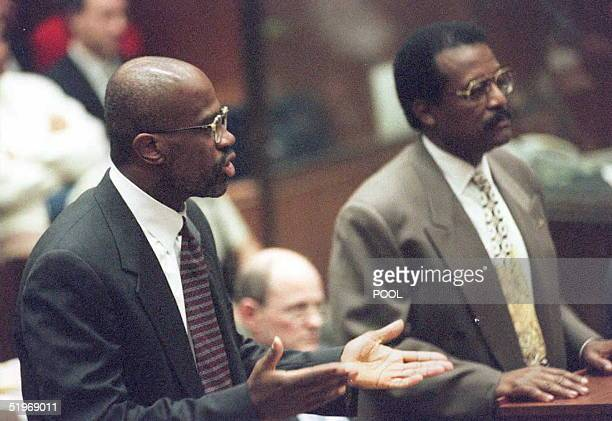 Prosecutor Christopher Darden argues during court proceedings 26 January 1995 in Los Angeles The OJ Simpson trial was delayed by the hospitalization...