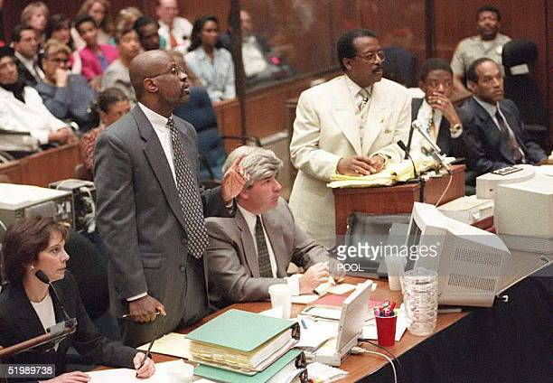 Prosecutor Christopher Darden objects during defense attorney Johnnie Cochran Jr redirect of witness Robert Heidstra 12 July during the OJ Simpson...