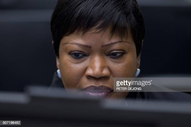 Prosecutor Fatou Bensouda looks on before the start of the trial of former Ivory Coast president and former youth minister at the International...