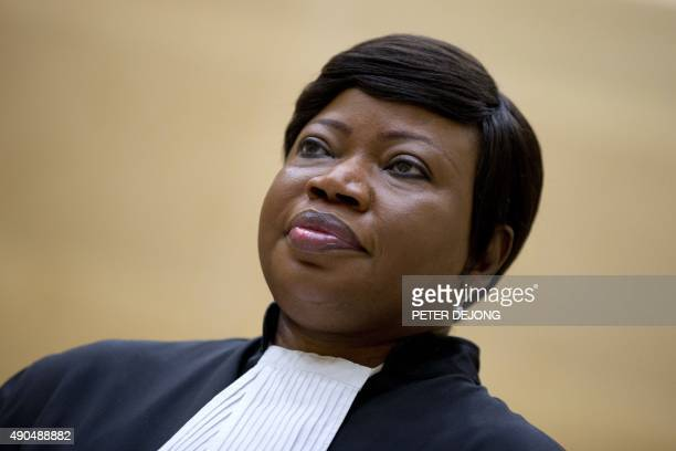 Prosecutor Fatou Bensouda waits for former vicepresident in the transitional government of the Democratic Republic of the Congo to enter the court...