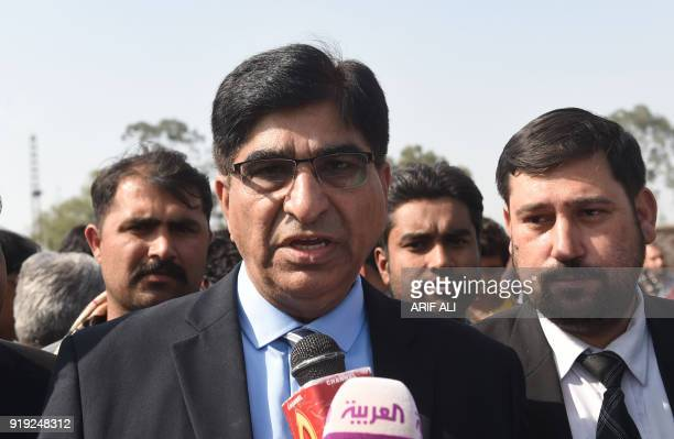 Prosecutor General of Punjab province Ihtesham Qadir speaks with media outside the check point of Kot Lakhpat Jail following the court verdict in...