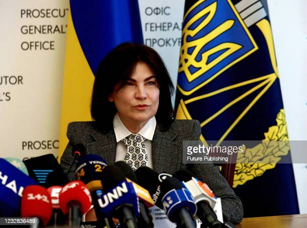 Prosecutor General of Ukraine Iryna Venediktova attends a joint briefing with head of the Security Service of Ukraine Ivan Bakanov held to announce...