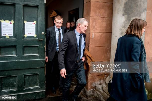 Prosecutor Jakob BuchJepsen and deputy police director Jens Moeller leave for a break at the courthouse in Copenhagen on March 8 2018 The highprofile...