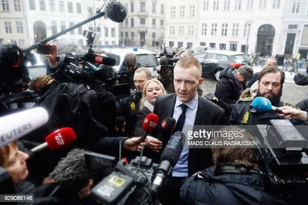 Prosecutor Jakob BuchJepsen speaks to the press as he arrives at the courthouse in Copenhagen on March 8 2018 at the opening of the trial for Danish...