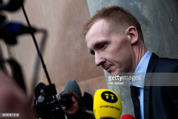 Prosecutor Jakob BuchJepsen speaks to the press at Copenhagen City Court on the first day of the murder case against Peter Madsen on March 8 2018 in...