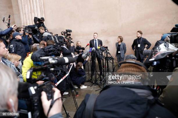 Prosecutor Jakob BuchJepsen speaks with journalists at a press briefing in front of the courthouse in Copenhagen after the verdict in the case of...