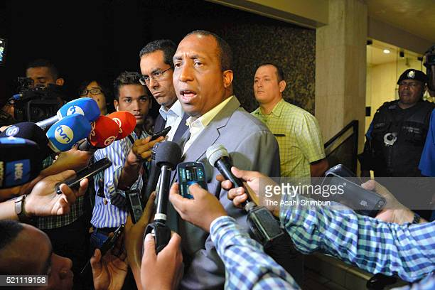 Prosecutor Javier Caravallo speaks to media reporters after the raid of the law firm Mossack Fonseca Co on April 13 2016 in Panama City Panama A...