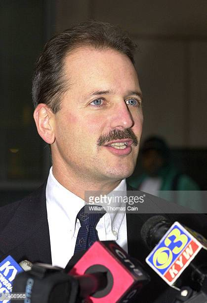 Prosecutor Joel Rosen speaks to the media during a break in the trial of Ira Einhorn outside the Criminal Justice Center October 9 2002 in...