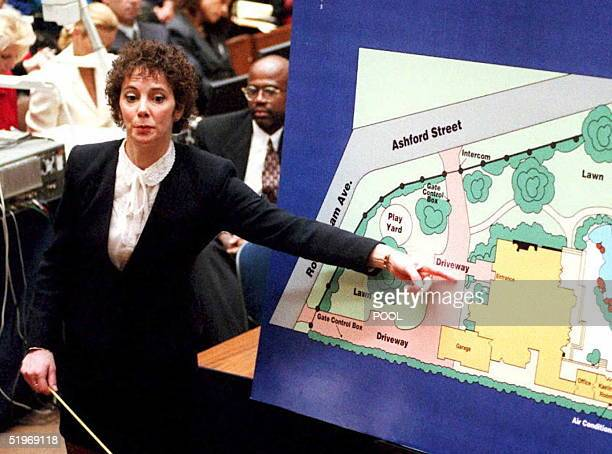 Prosecutor Marcia Clark points to a chart as she describes to jurors where evidence was found at OJ Simpson's home during opening statements in the...