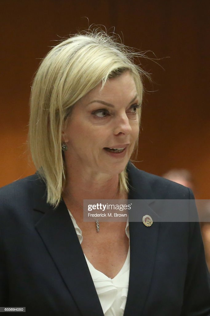 Prosecutor Michele Hanisee, Deputy District Attorney for the County of Los Angeles, speaks during a hearing for People v. Roman Polanski at Clara Shortridge Foltz Criminal Justice Center on March 20, 2017 in Los Angeles, California. Polanski has been a fugitive form the U.S court system for several decades when he left the country prior to sentencing for having sex with a minor in 1977.