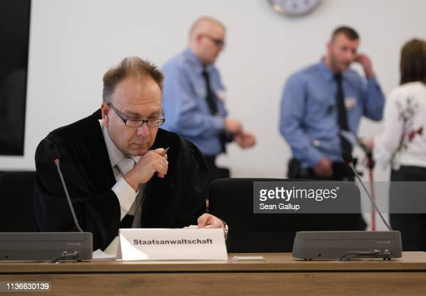 Prosecutor Stephan Butzkies sits in the courtroom on the first day of the trial of Alaa S for the possible murder of a German man in Chemnitz last...