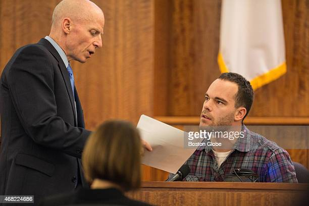 Prosecutor William McCauley left questions Robert Paradis during the murder trial of former New England Patriots tight end Aaron Hernandez at Bristol...