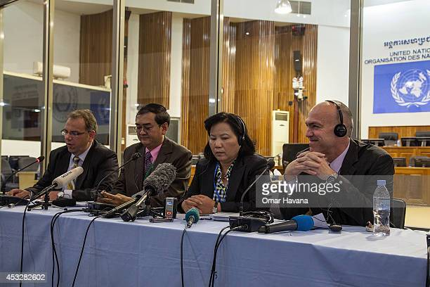 Prosecutors hold a press conference after the announcement of the verdict for former Khmer Rouge leaders Nuon Chea and Khieu Samphan on August 7 2014...