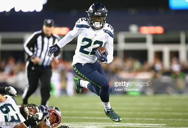 J Prosise of the Seattle Seahawks carries the ball during the third quarter of a game against the New England Patriots during a game at Gillette...