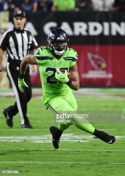 Prosise of the Seattle Seahawks runs with the ball against the Arizona Cardinals at University of Phoenix Stadium on November 9 2017 in Glendale...