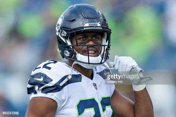 J Prosise of the Seattle Seahawks warming up before a game against the Tennessee Titans at Nissan Stadium on September 24 2017 in Nashville Tennessee...