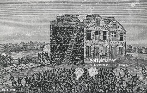 Proslavery mob murdering Reverend Elijah Parish Lovejoy November 7 Alton Illinois engraving United States of America 19th century