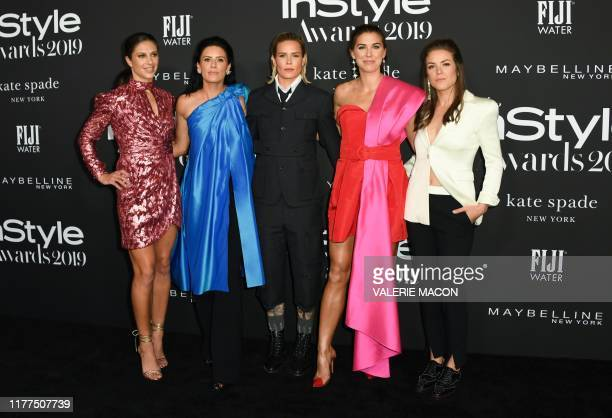 Prosoccer players Carli Lloyd Ali Krieger and her partner Ashlyn Harris Alex Morgan and Kelley O'Hara arrive for the 5th Annual InStyle Awards at the...