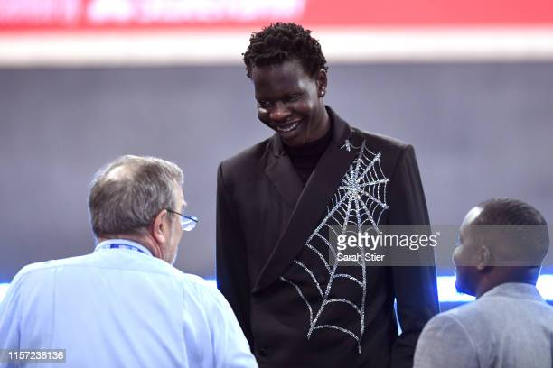 Prospect Bol Bol looks on before the start of the 2019 NBA Draft at the Barclays Center on June 20 2019 in the Brooklyn borough of New York City NOTE...