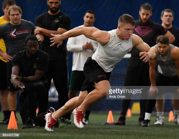 NFL prospect Christian McCaffrey takes off during the shuttle during a mock NFL combine at the South Suburban Sports Dome February 09 2017