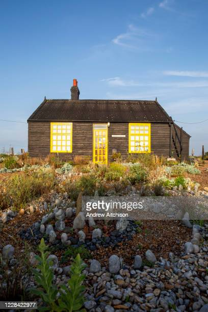 Prospect Cottage on a beautiful sunny mid summer morning, made famous by film maker Derek Jarman who found inspiration at Dungeness, where he created...