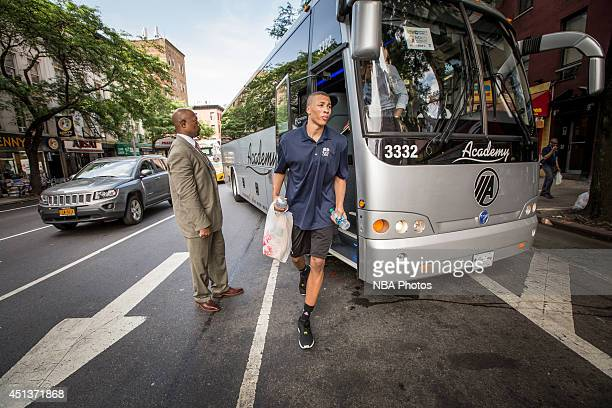 Prospect Dante Exum walks off the bus prior to the event at NBA CARES Share Our Strength #SaveSummer TipOff Event at PS/IS 111 on June 25 2014 in New...