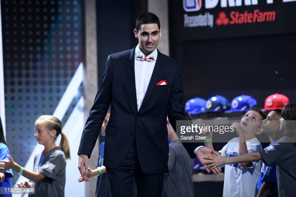 Prospect Goga Bitazde is introduced before the start of the 2019 NBA Draft at the Barclays Center on June 20 2019 in the Brooklyn borough of New York...